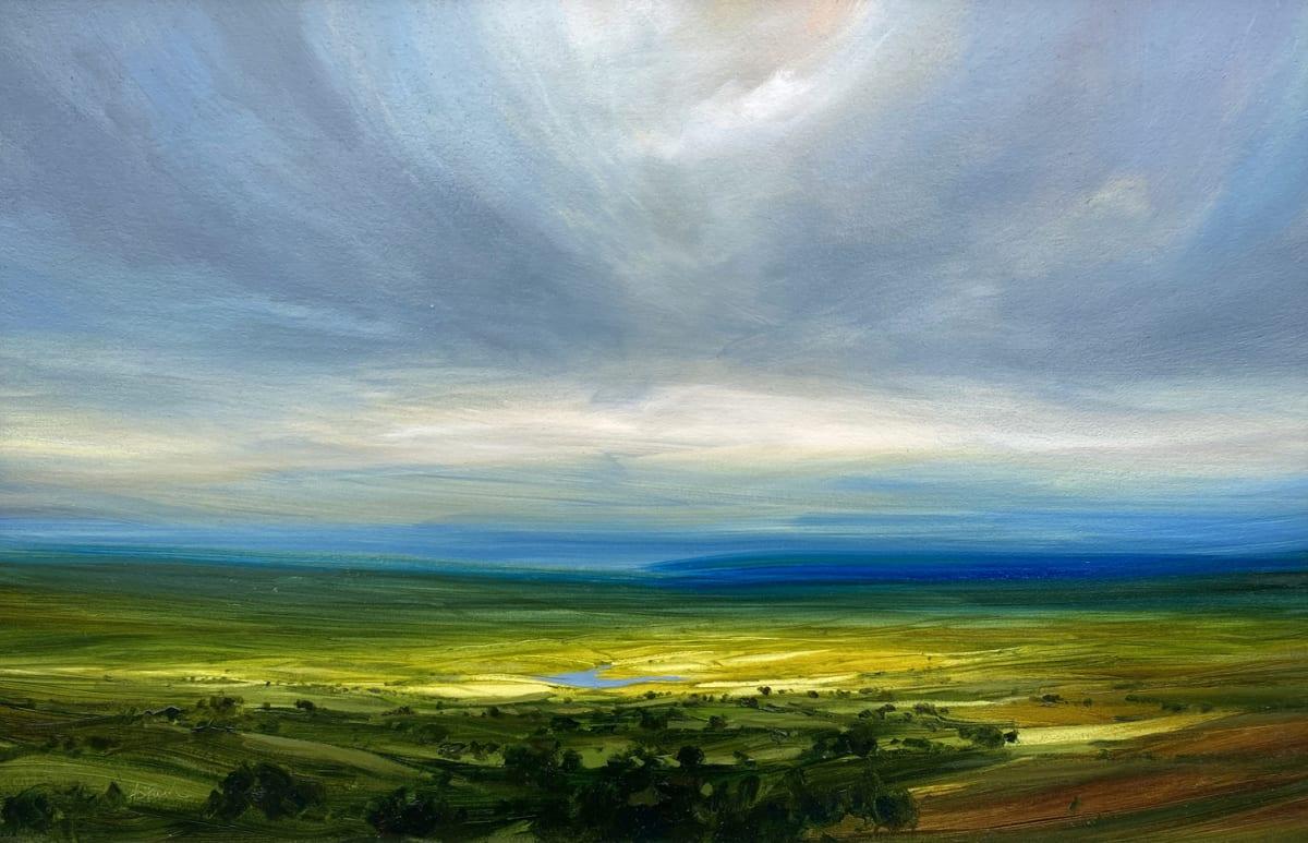 Harry Brioche DISTANT BLUE Oil on board 12 x 18 in. 30.48 x 45.72 cm