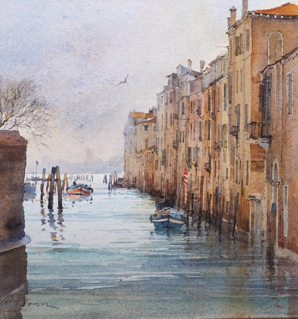 """David Howell CANALE DELLA MISERICORDIA, VENICE Watercolour 11"""" x 10"""""""