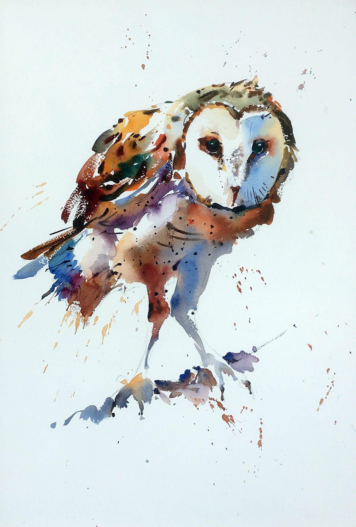Jake Winkle BARN OWL Watercolour 45.7 x 33 cm 18 x 13 in