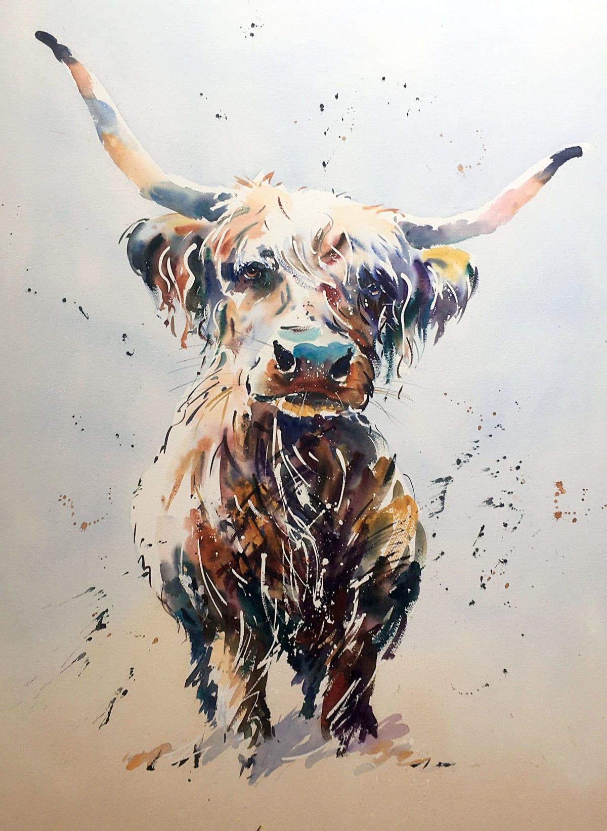 Jake Winkle MY LITTLE COW Watercolour 29 x 37 in 73.7 x 94 cm