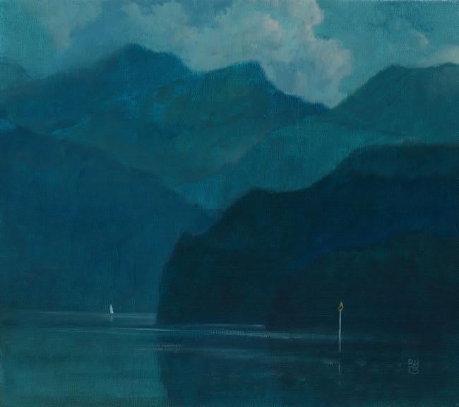 Michael Bennallack Hart LAKE COMO Oil on canvas 16 x 18 in. 40.64 x 45.72 cm