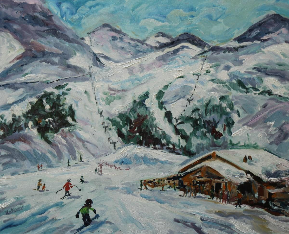 Fi Katzler PISTE PIT STOP Oil on canvas 20 x 24 in. 50.8 x 60.96 cm