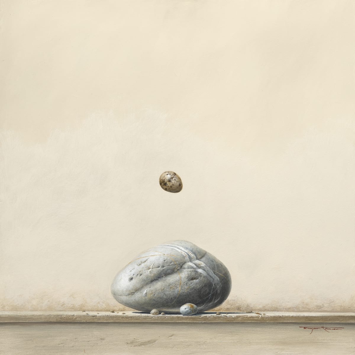 "Bryan Hanlon BOULDER AND GULLS EGGS Acrylic on board 24"" x 24"""