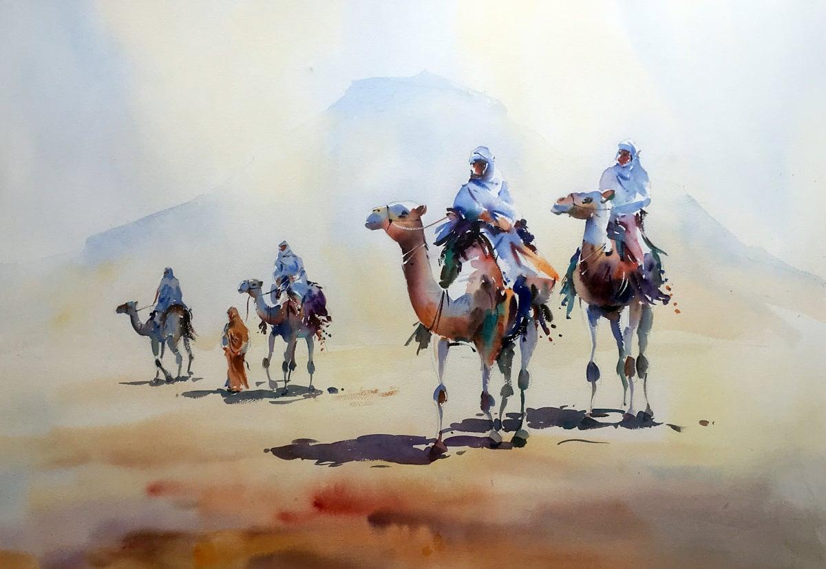 Jake Winkle Born 1964CROSSING THE SANDS Signed: J Winkle Watercolour 28 x 39 in.71.12 x 99.06 cm