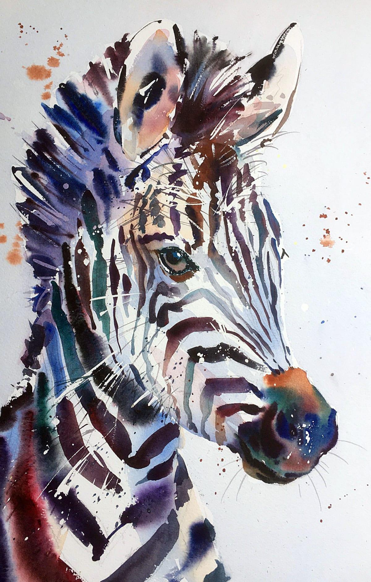 Jake Winkle YOUNG ZEBRA Watercolour 18 x 13 in 45.7 x 33 cm