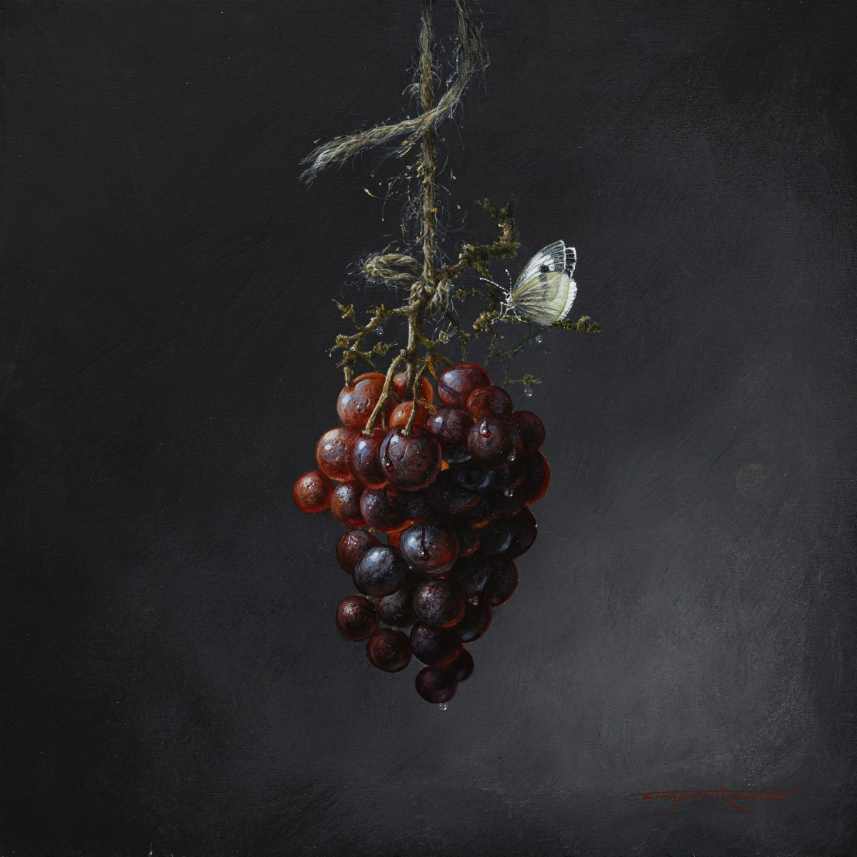 Bryan Hanlon HANGING GRAPES Acrylic on board 12 x 12 in. 30.48 x 30.48 cm