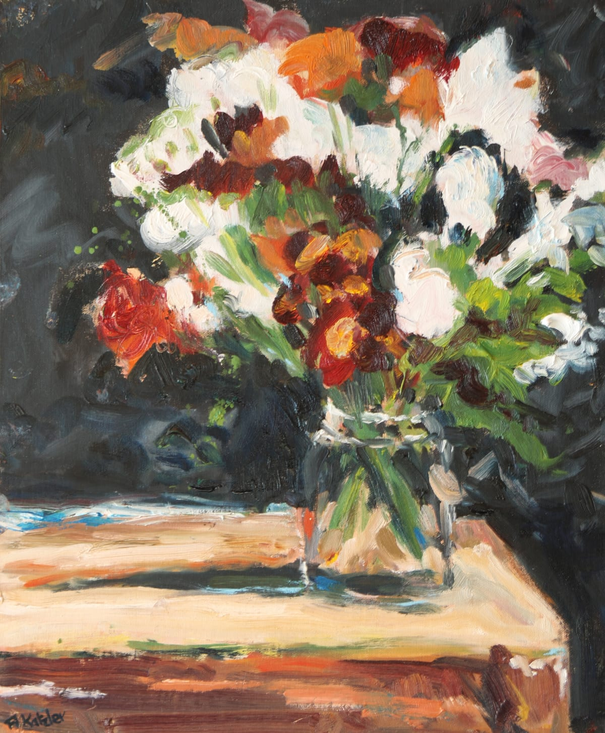 Fi Katzler MIXED BUNCH Oil on canvas board 18 x 15 in. 45.72 x 38.1 cm
