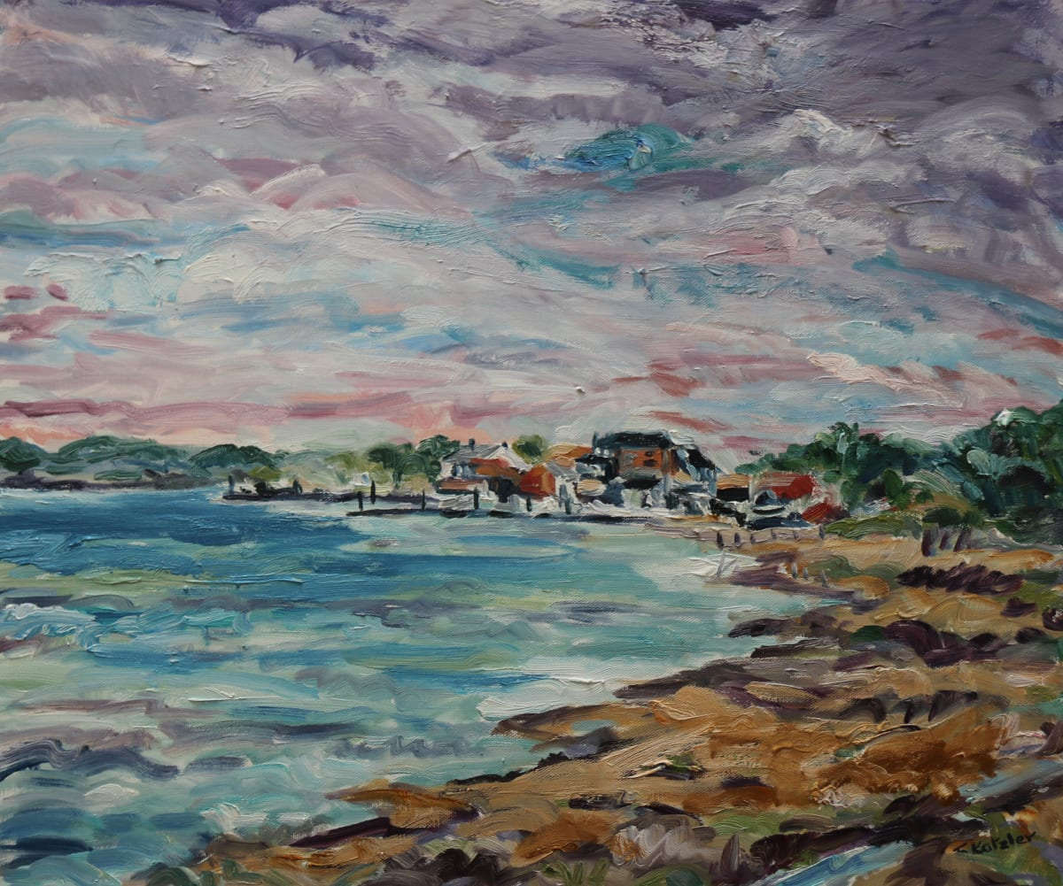 Fi Katzler ORFORD SAILING CLUB Oil on canvas 18 x 22 in. 45.72 x 55.88 cm