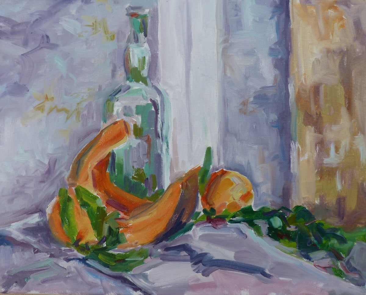 Fi Katzler GREEN BOTTLE AND PUMPKIN II Oil on canvas 13 x 16 in. 33.02 x 40.64 cm