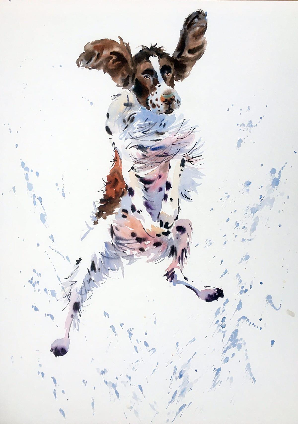 Jake Winkle SPRINGER HAS SPRUNG Watercolour 28 x 20 in 71.1 x 50.8 cm