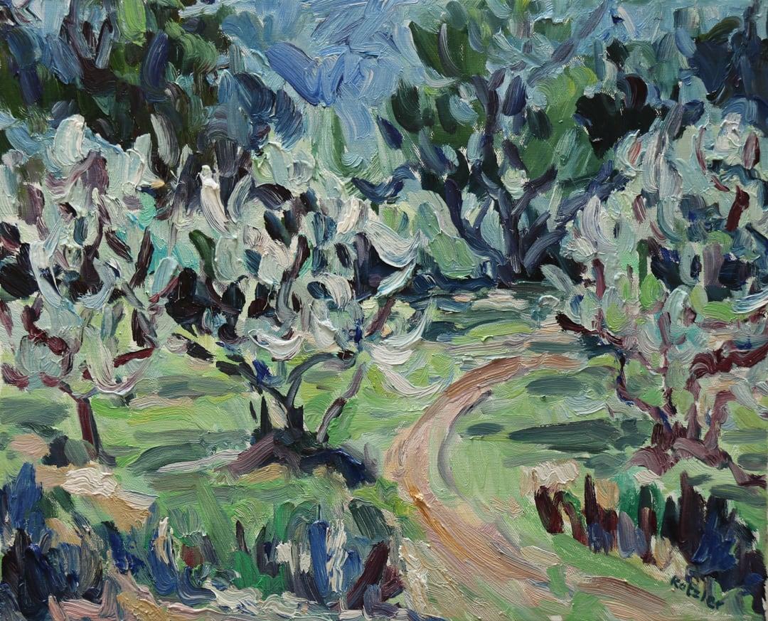 Fi Katzler OLIVES AT L'ABEILLE Oil on canvas 15 x 18 in. 38.1 x 45.72 cm