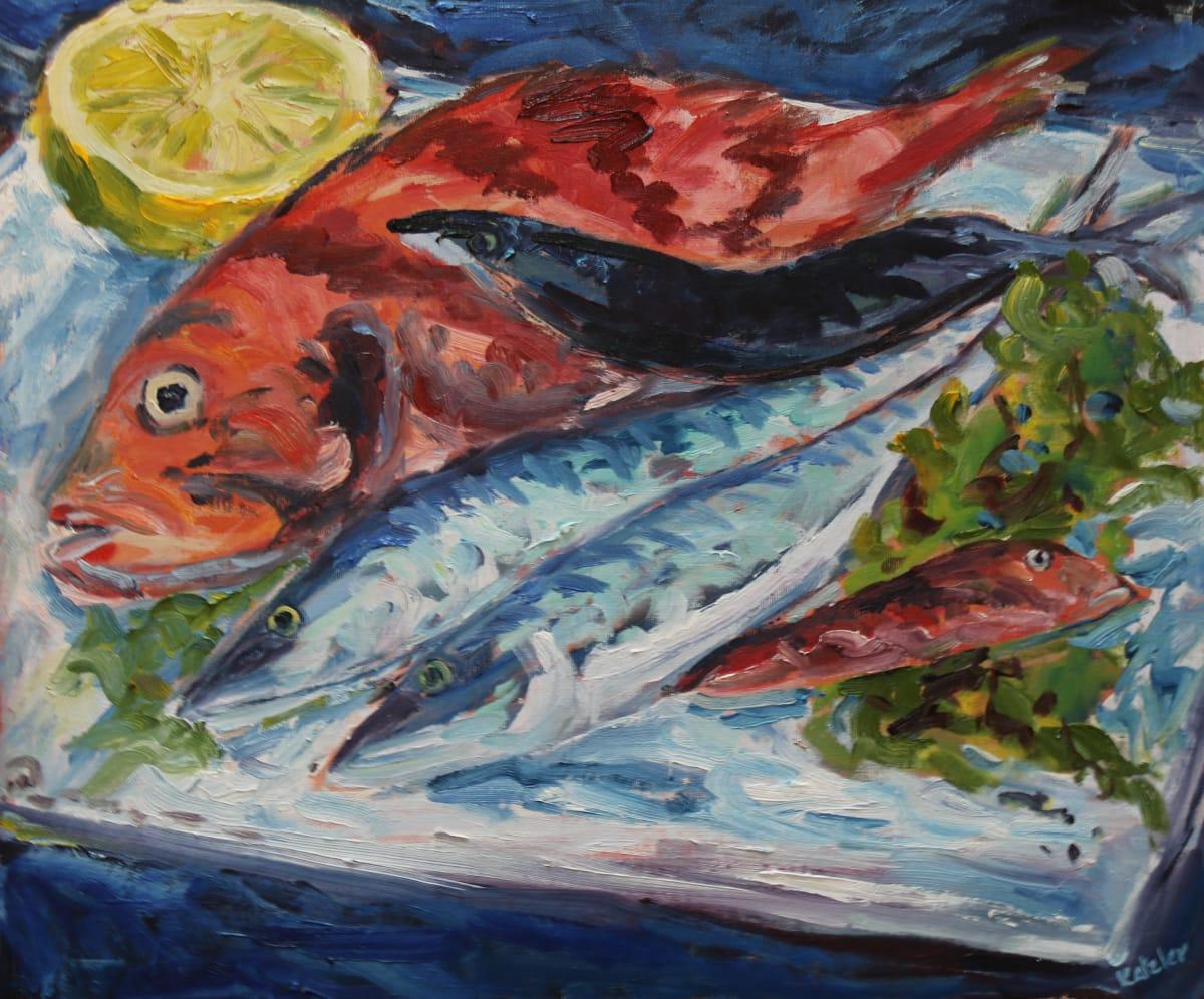 Fi Katzler FISH PLATTER Oil on canvas board 18 x 21 in. 45.72 x 53.34 cm