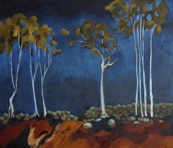 Teresa Lawton SILVER GHOST TREES Oil on canvas 12 x 14 in. 30.48 x 35.56 cm