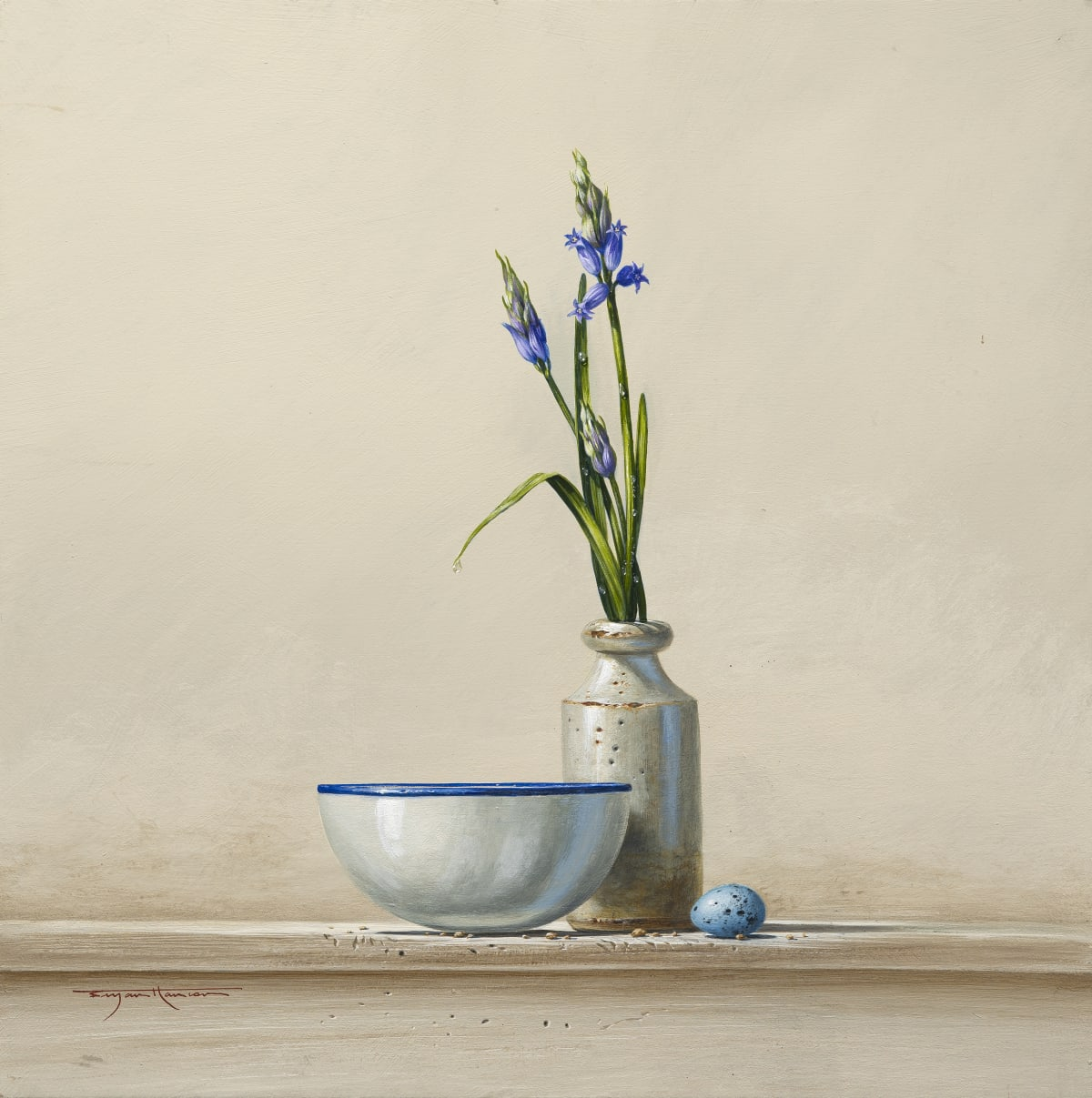 "Bryan Hanlon BLUEBELLS AND THRUSH EGG Acrylic on board 16"" x 16"""