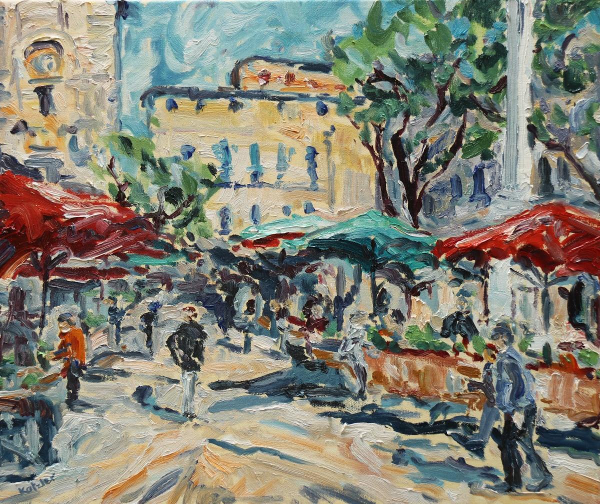 Fi Katzler AIX MARKET DAY Oil on canvas 18 x 22 in. 45.72 x 55.88 cm