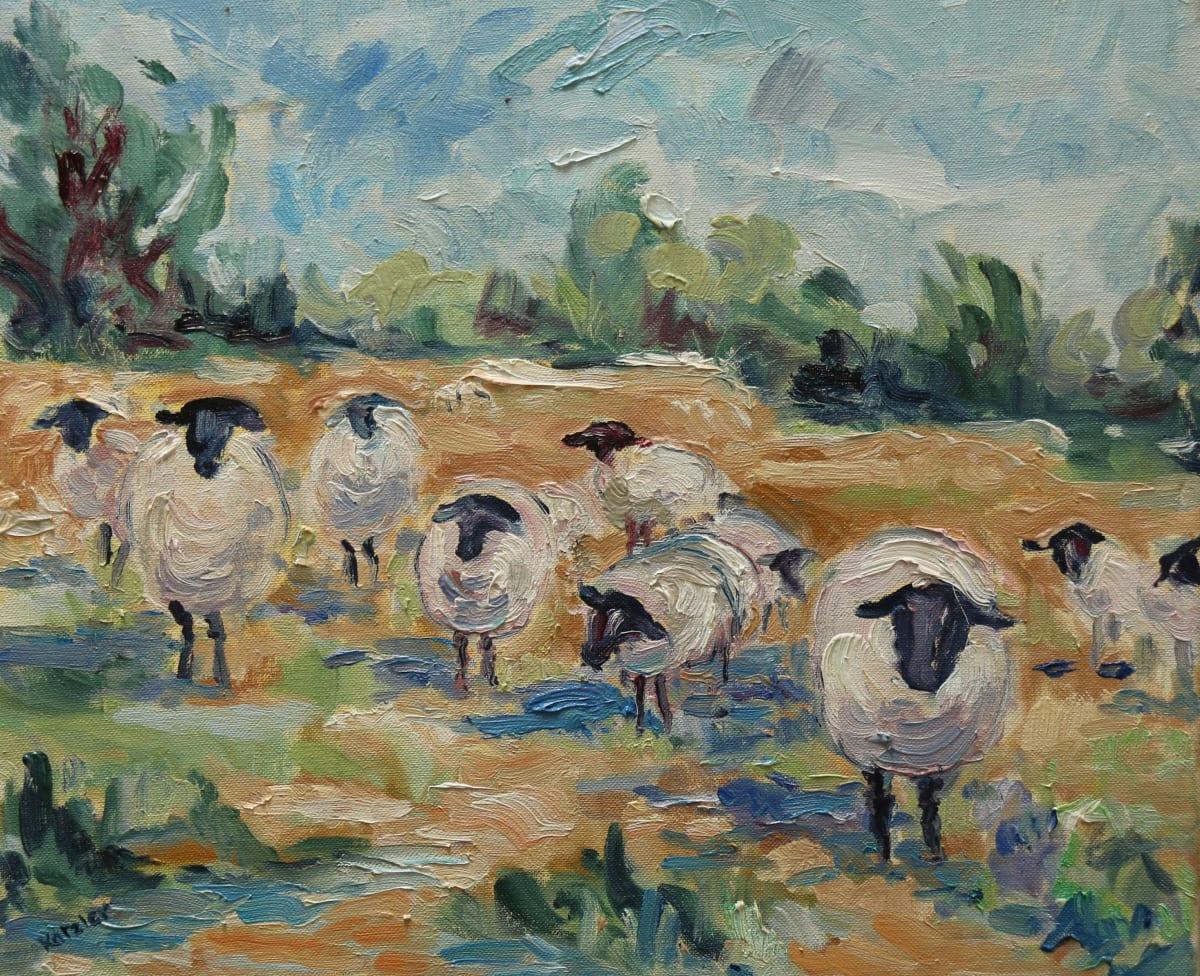 Fi Katzler HUDDLED SHEEP Oil on canvas 15 x 18 in. 38.1 x 45.72 cm