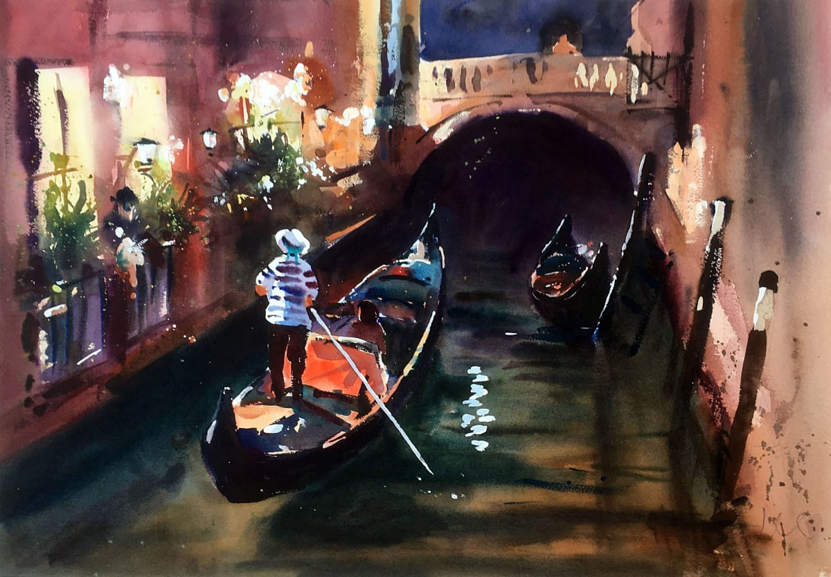 Jake Winkle TWILIGHT VENICE Watercolour 20 x 28 in 50.8 x 71.1 cm
