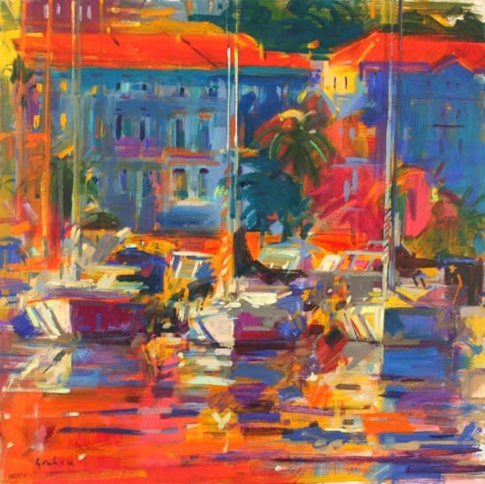Peter Graham COTE D'AZUR REFLECTIONS Oil 36 x 36 in. 91.44 x 91.44 cm