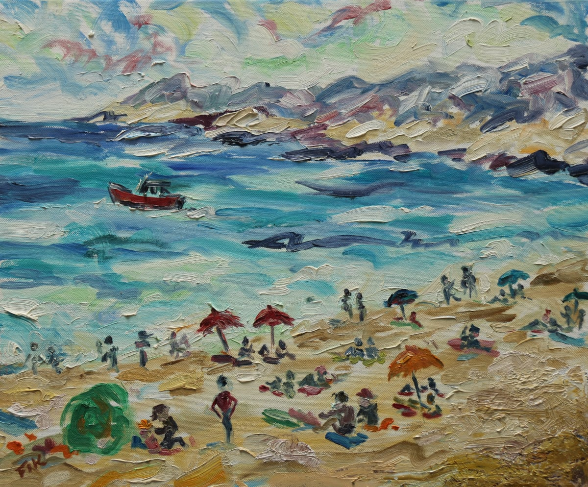 Fi Katzler DAY AT THE BEACH, CASSIS Oil on canvas 15 x 18 in. 38.1 x 45.72 cm