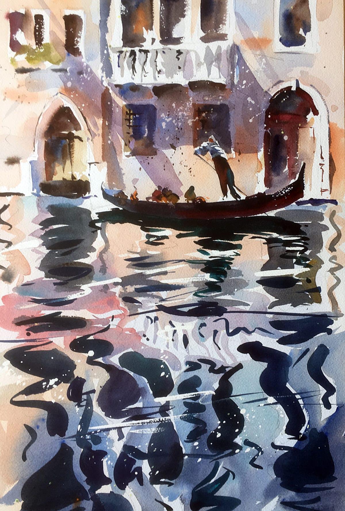 Jake Winkle REFLECTIONS OF VENICE Watercolour 18 x 13 in. 45.72 x 33.02 cm