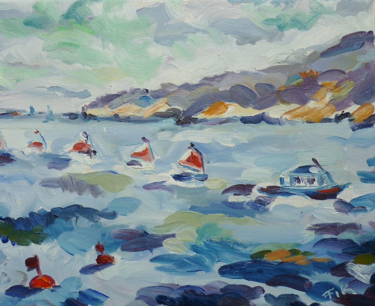 Fi Katzler SAILING SCHOOL AT CASSIS Oil on canvas 13 x 16 in. 33.02 x 40.64 cm