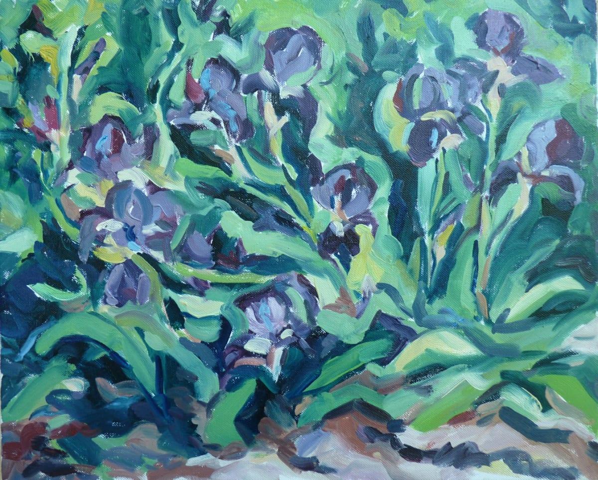 Fi Katzler WILD IRISES IN LE THOLONET Oil on canvas 15 x 18 in. 38.1 x 45.72 cm