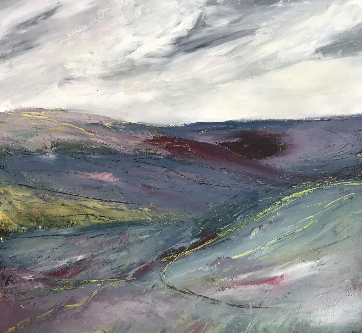 Maggie Cochran THE HEATHER COVERED HILLS Mixed Media 12 x 12 in. 30.48 x 30.48 cm