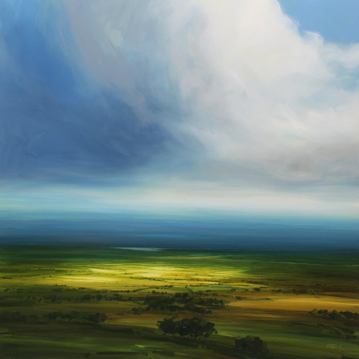 Harry Brioche EVENING SUN Oil on board 24 x 24 in. 60.96 x 60.96 cm