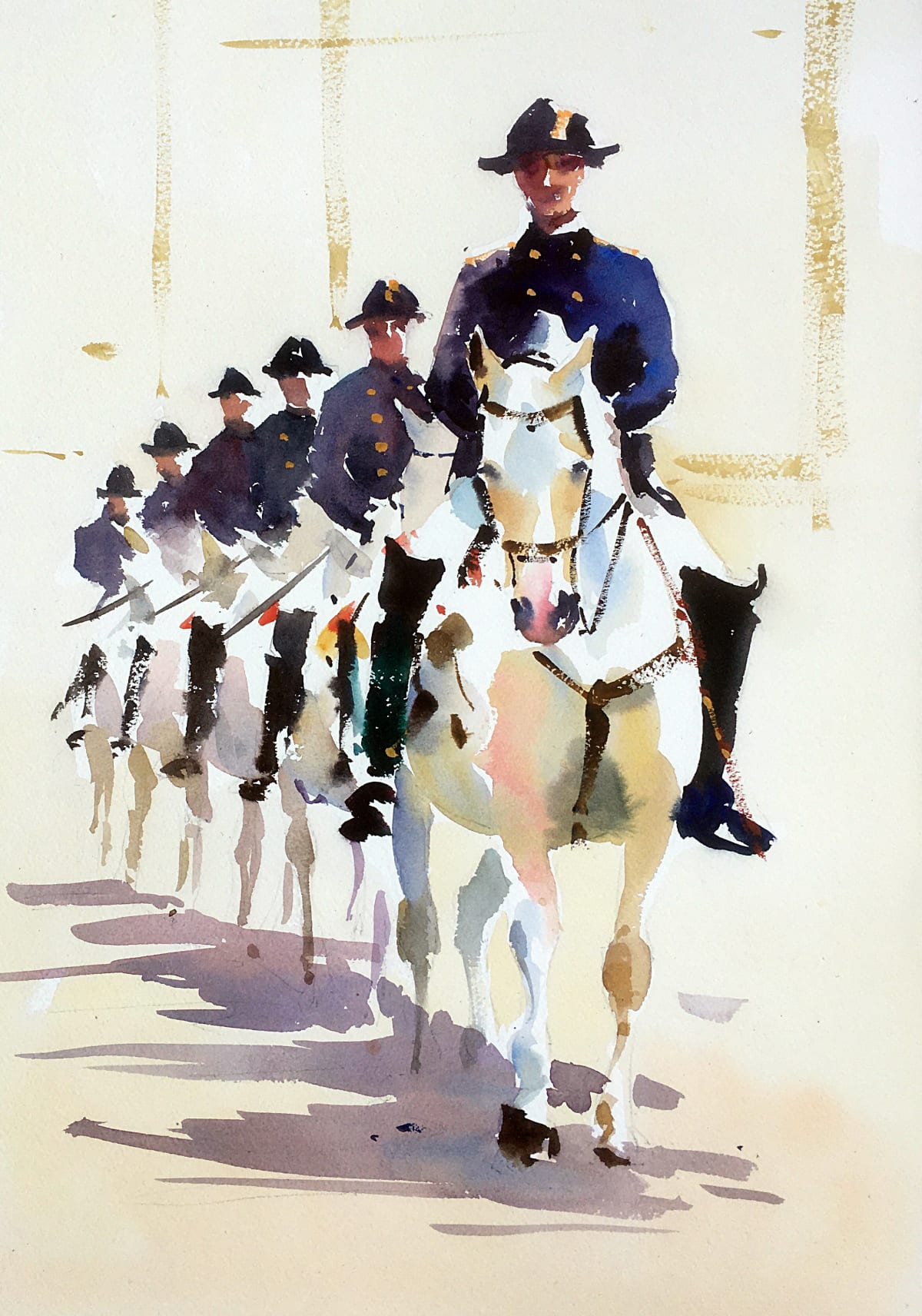 Jake Winkle LIPPIZANER LINE OUT Watercolour 18 x 13 in. 45.72 x 33.02 cm