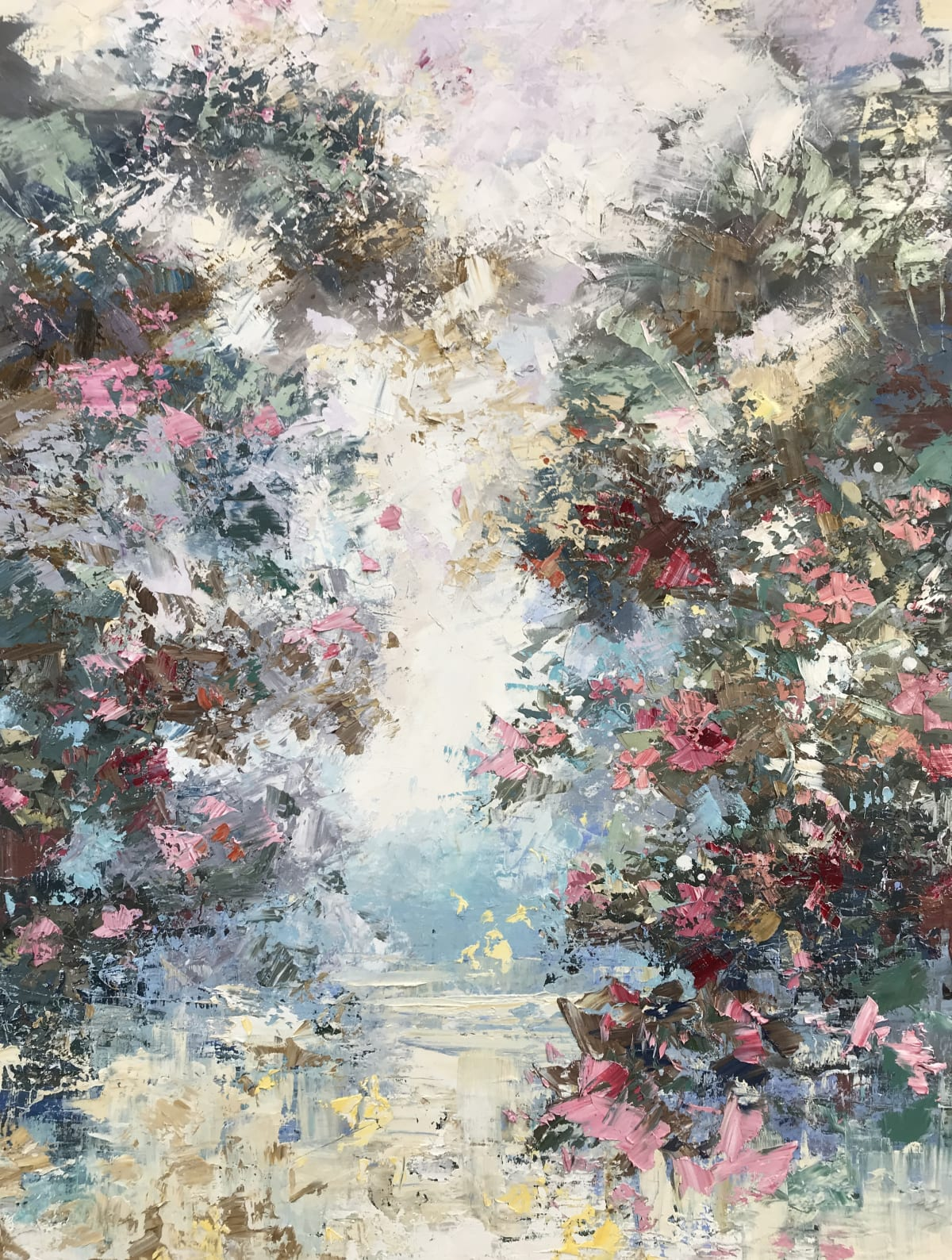 Paul Treasure SUNLIGHT AND ROSE RED Oil on canvas 63 x 47 in. 160.02 x 119.38 cm