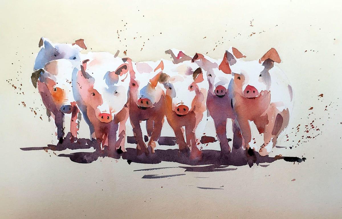 Jake Winkle PIGLET TROTTERS Watercolour 13 x 18 in 33 x 45.7 cm