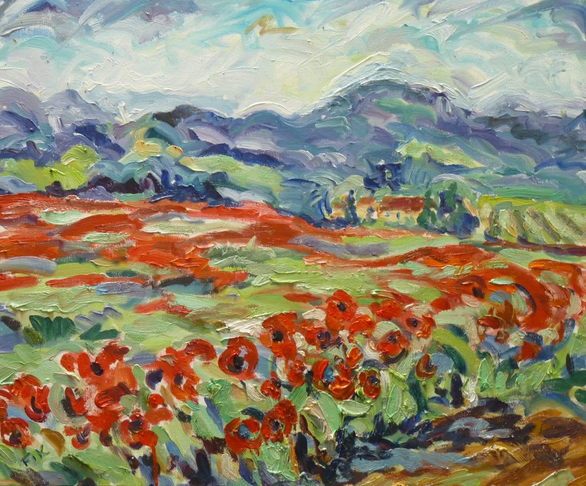 Fi Katzler POPPY FIELDS NEAR ANSOUIS Oil on canvas 18 x 22 in. 45.72 x 55.88 cm