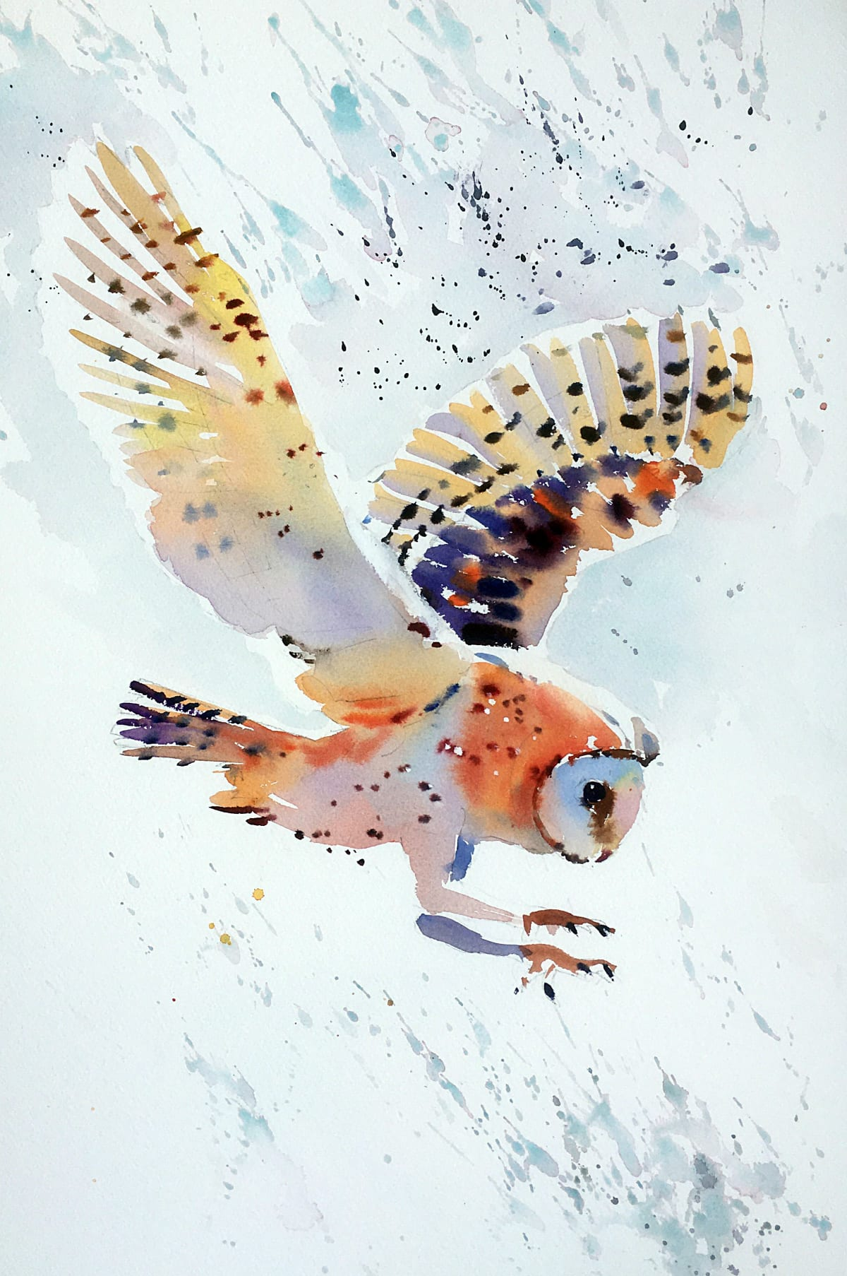 Jake Winkle SWOOPING BARN OWL Watercolour 18 x 13 in. 45.72 x 33.02 cm