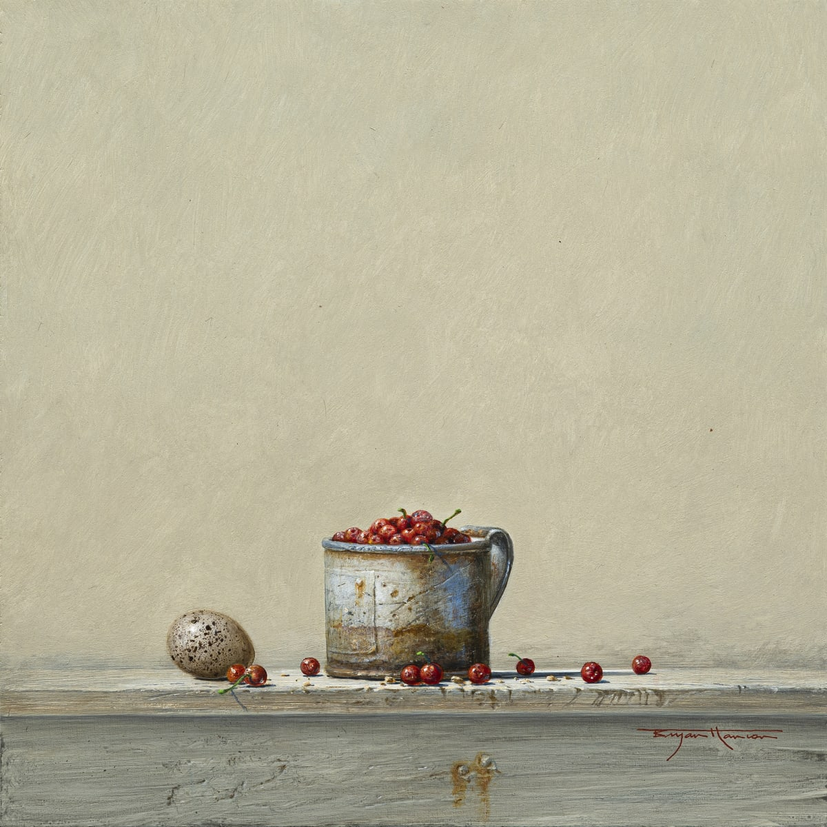 "Bryan Hanlon REDCURRANTS AND COOT Acrylic on board 12"" x 12"""