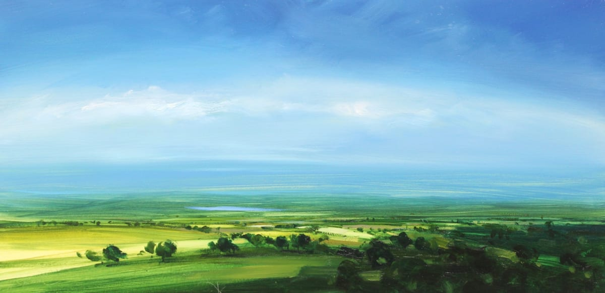 Harry Brioche DISTANT BLUE Oil on board 8 x 16 in. 20.32 x 40.64 cm