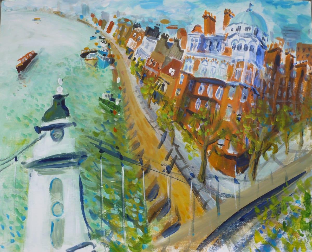 Ian Weatherhead OVER HAMMERSMITH BRIDGE Acrylic on linen 24 x 30 in. 60.96 x 76.2 cm