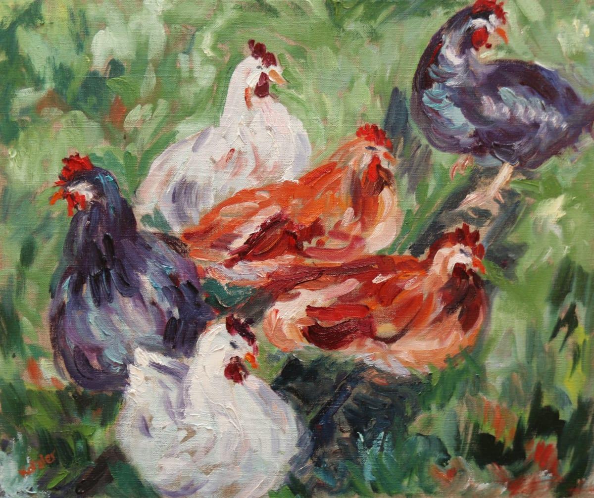 Fi Katzler CHICKENS Oil on canvas 15 x 18 in. 38.1 x 45.72 cm