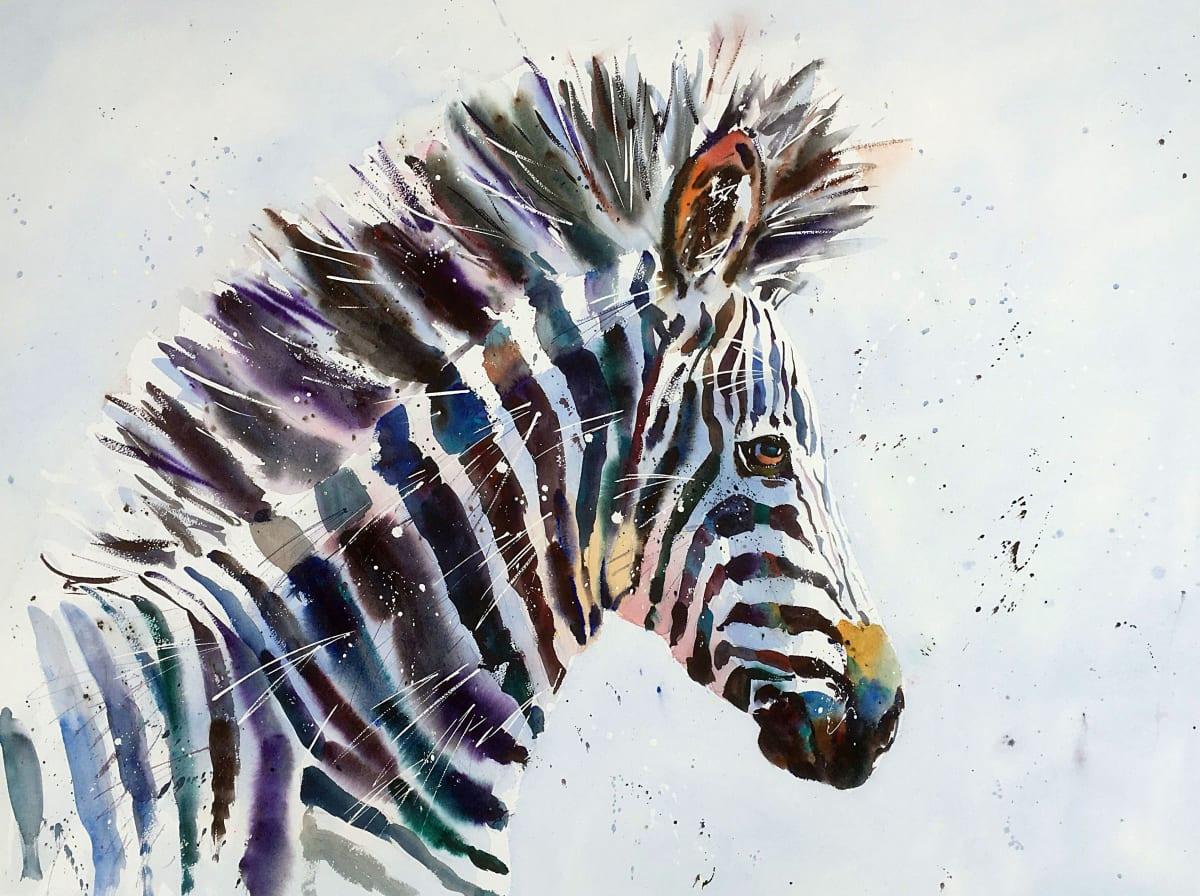 Jake Winkle SUPER STRIPES Watercolour 29 x 37 in 73.7 x 94 cm