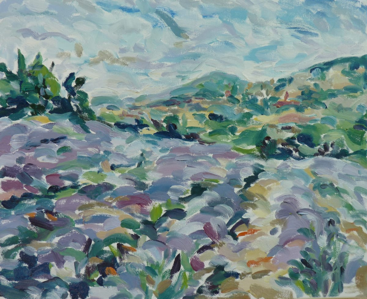 Fi Katzler LAVENDER IN THE LUBERON Oil on canvas 15 x 18 in. 38.1 x 45.72 cm
