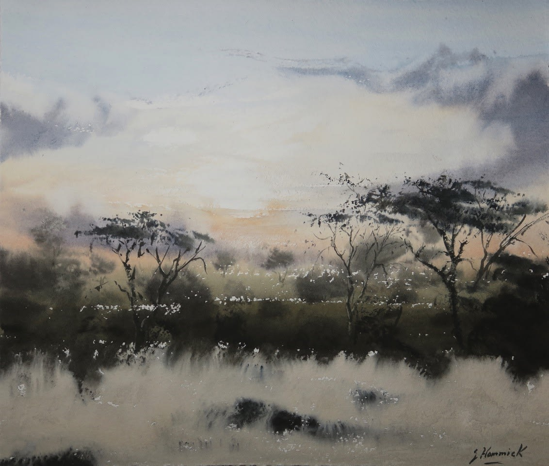 Jeremy Hammick AFRICAN DUSK Watercolour 10 x 11 in. 25.4 x 27.94 cm