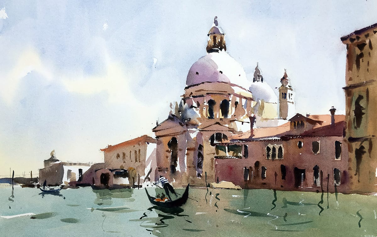 Jake Winkle PUNTING BY THE SALUTE, VENICE Watercolour 18 x 13 in. 45.72 x 33.02 cm