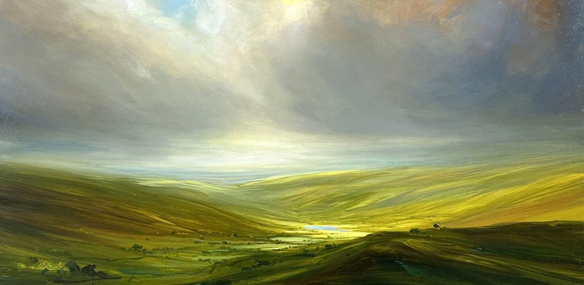Harry Brioche SUNLIT VALLEY Oil on board 8 x 16 in. 20.32 x 40.64 cm