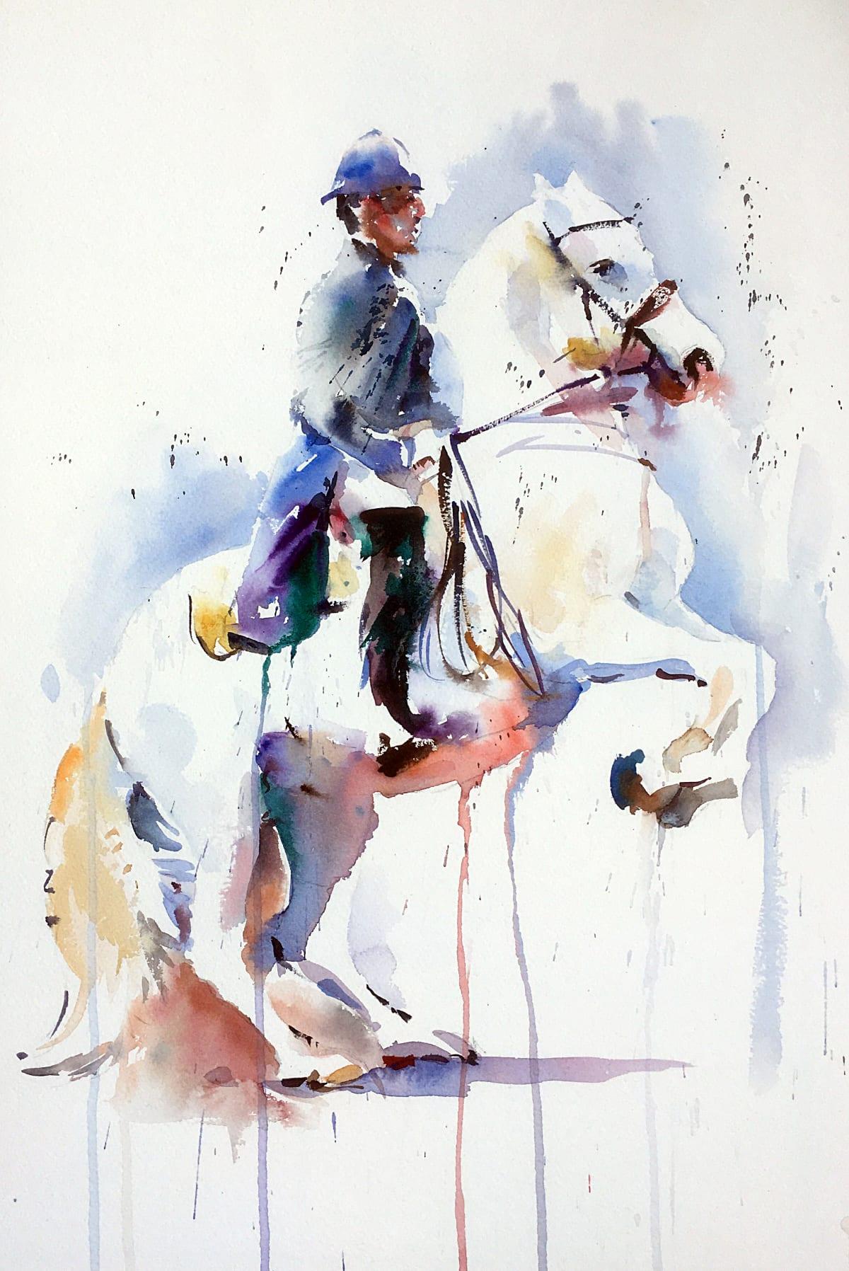 Jake Winkle LIPPIZANER BALANCE Watercolour 18 x 13 in. 45.72 x 33.02 cm