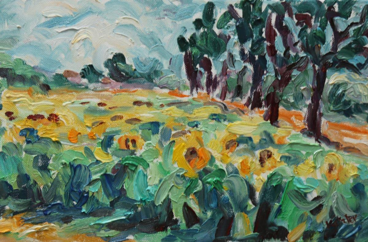 Fi Katzler SUNFLOWERS Oil on canvas 9 x 13 in. 22.86 x 33.02 cm