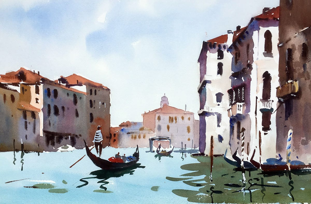 Jake Winkle ON THE GRAND CANAL Watercolour 13 x 18 in 33 x 45.7 cm