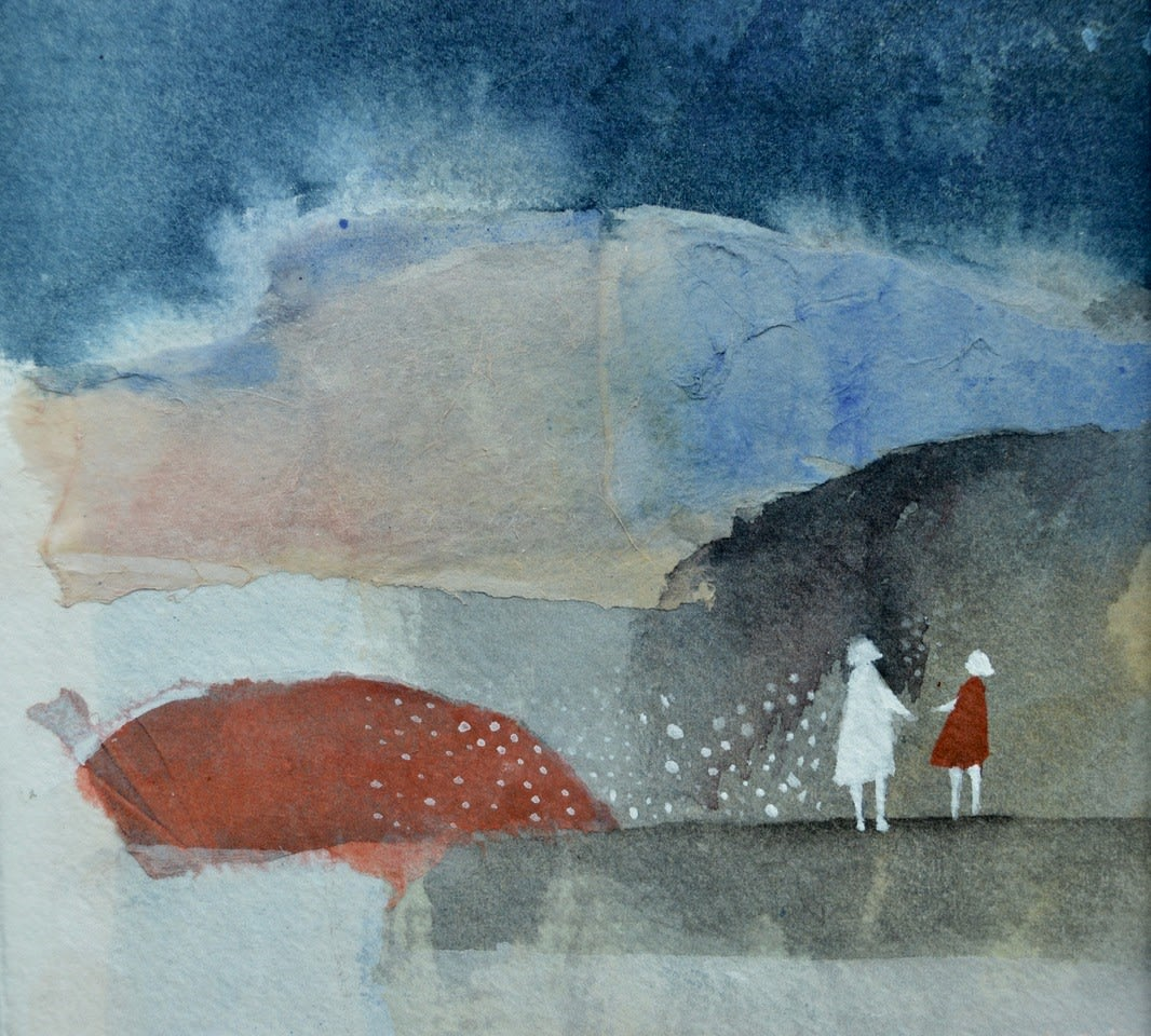 Julie Collins YOU AND ME Watercolor, Acrylic and mixed Media on paper 4.5 x 4.5 in. 11.43 x 11.43 cm
