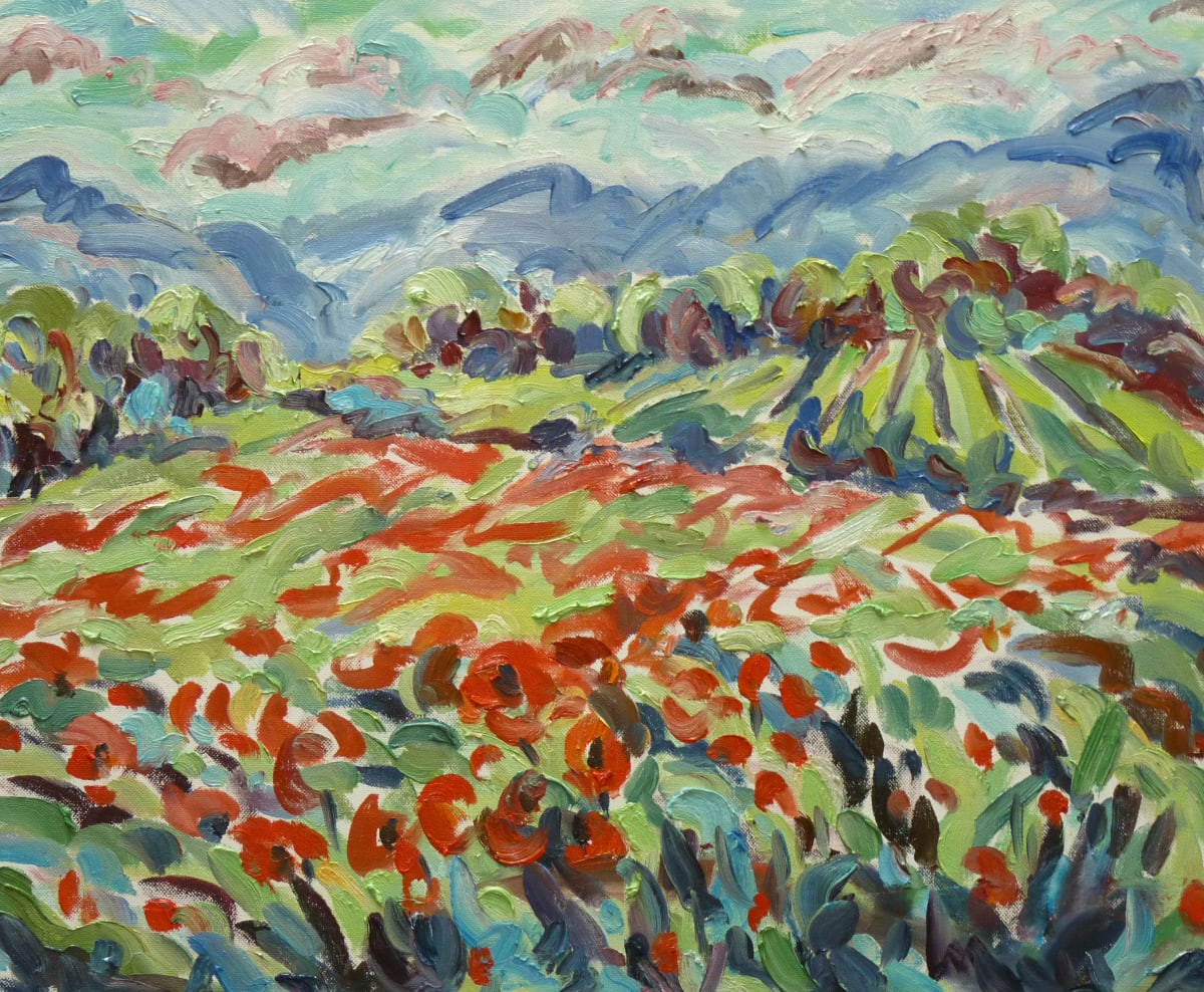 Fi Katzler POPPIES AT ANSOUIS Oil on canvas board 18 x 22 in. 45.72 x 55.88 cm