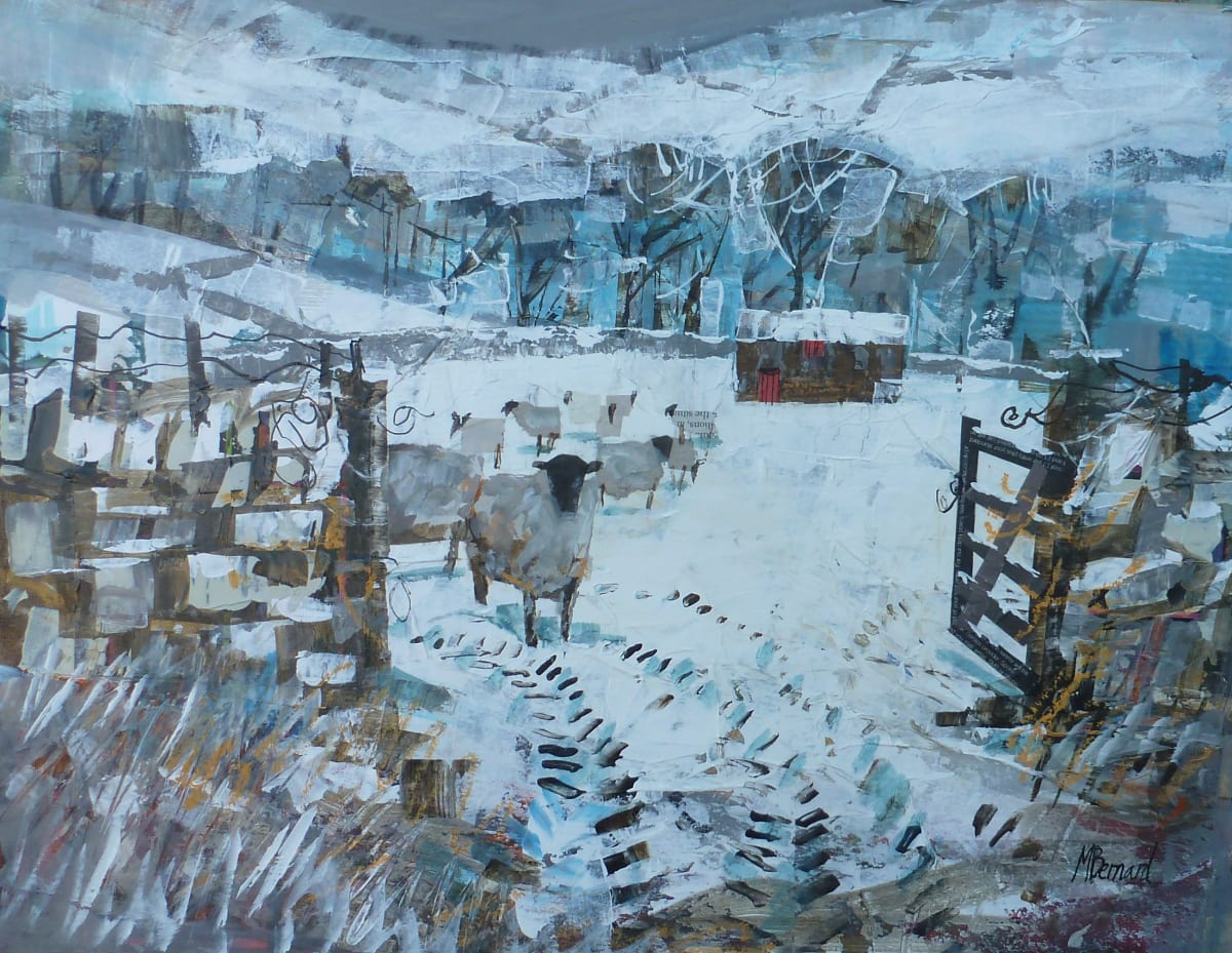 Mike Bernard SHEEP IN THE SNOW Mixed Media 13 x 17 in. 33.02 x 43.18 cm