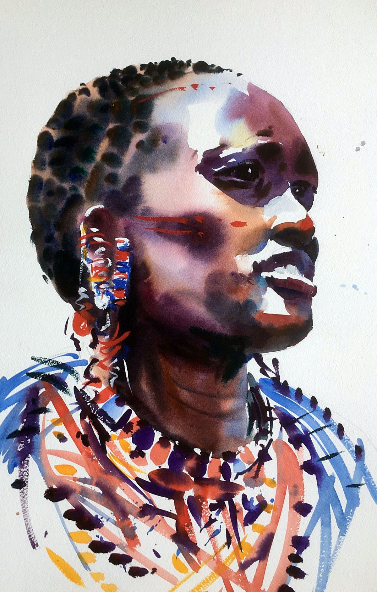 Jake Winkle ELEGANT MAASAI Watercolour 18 x 13 in 45.7 x 33 cm