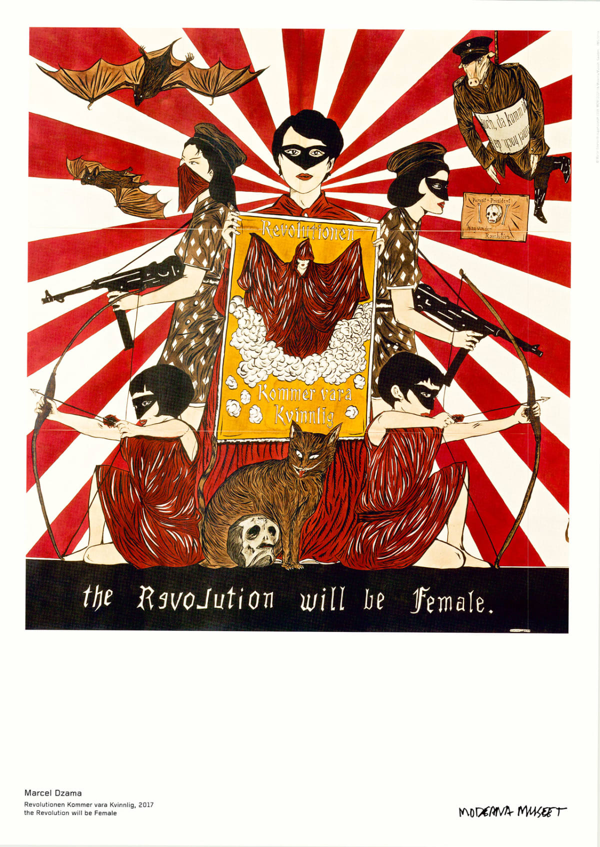 Marcel Dzama the Revolution will be Female, 2018 Poster 19 3/4 x 27 1/2 in 50 x 70 cm